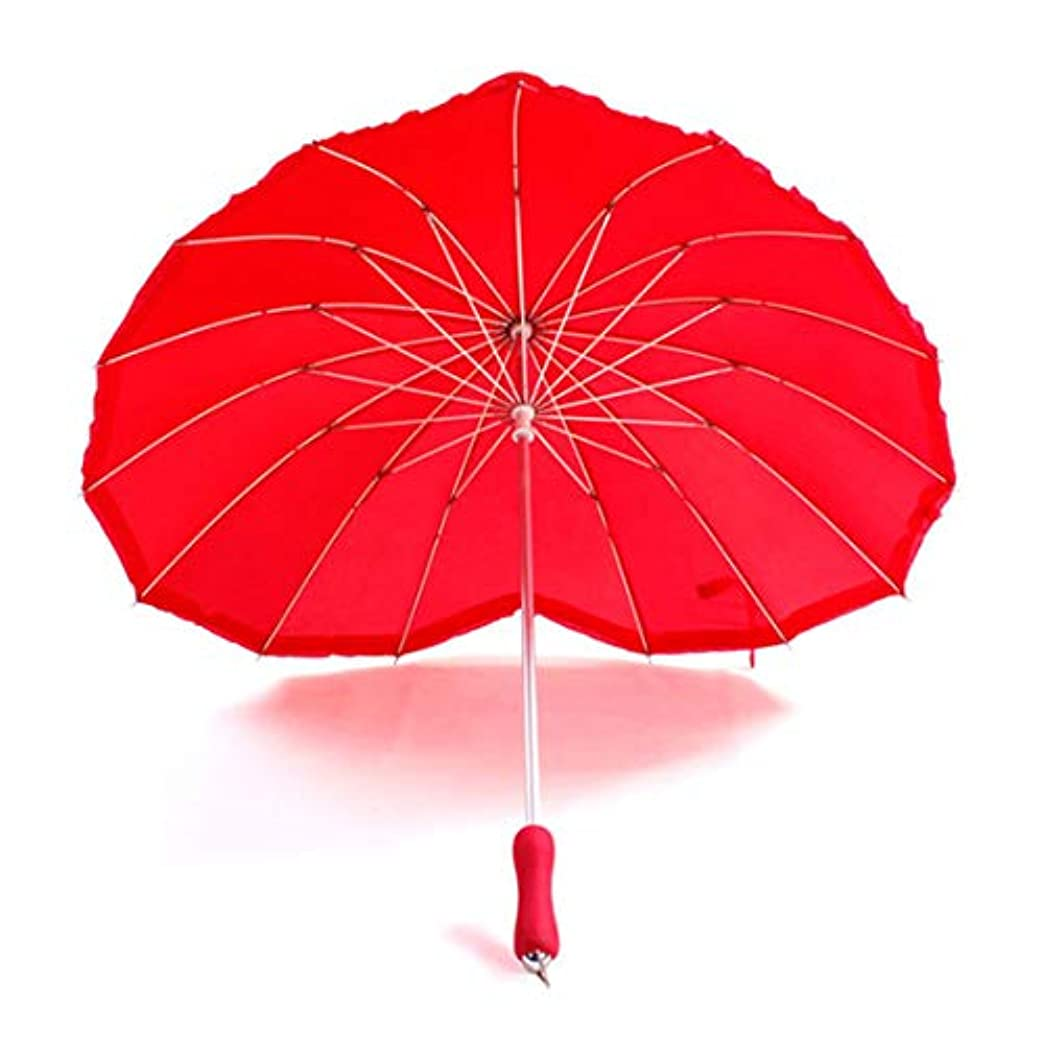 羨望リーク合意HOHYLLYA ロゴ付きクリエイティブハートラブ傘クリア傘ブライダル傘日傘 sunshade (Color : レッド)