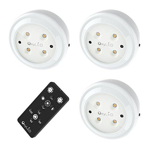 OxyLED リモコン付き LEDライト 小型 6段階調光 電池式 3個セット マグネット付 貼り付け型 壁掛け対応 電球色 N-06