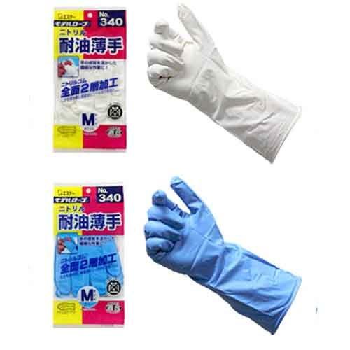 エステー 二トリル 耐油薄手 手袋 S 白 No.340