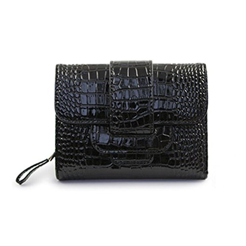 Spinas(スピナス)レディース 財布 三つ折り クロコ 型押し PU レザー 全5色(ローズピンク ピンクベージュ ブラック ゴールド シルバー)