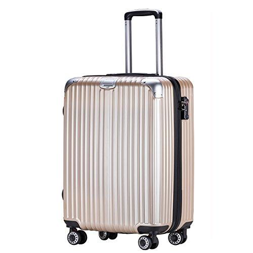 OTT スーツケース 超軽量 TSAロック搭載 Wファスナータイプ 容量拡張 大容量 最大容量20%アップ(M,チタンゴールド)