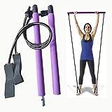 Pilates Bar Workout Kit With Resistance Band Exercise Stick | Pilates Ring Exercise Band Yoga Pilates Bar Kit Portable Pilate