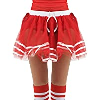 Girls Cheers Tutu Skirt with Bow Uniform High School Kids Musical Party Fancy Dress Skater