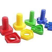 [キュリアスマインド]Curious Minds Busy Bags Large Plastic Nuts and Bolts Set of 4 Matching and Fine Motor Toy for [並行輸入品]