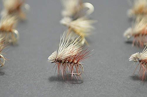 「クリーク エッジ」 Premium Collection エルクヘアカディス タン (淡茶色)12個 完成フライ (バーブレス/バーブド)