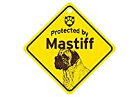 Protected by Mastiff スモールサインボード:マスティフ 監視中 ミニ看板 アメリカ製 Made in U.S.A [並行輸入品]