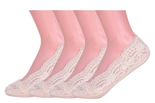 フットカバー 脱げない レディース セット 靴下 ソックス 浅履き 滑り止め付き 柄2 ピンク 4足