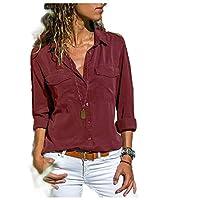 YAXINHE レディースロングスリーブ居心地の良いプラスサイズブラウスシャツTシャツトップス Wine Red 3XL