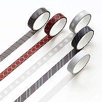LFDJD 5ピース/ボックスXinmoチェッカーストライプテープDIY装飾スクラップブッキング用マスキングテープ粘着テープ04