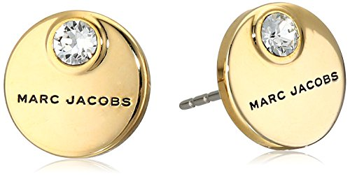 """Marc Jacobs マーク マークジェイコブ ピアス イアリング """"Fall 2016"""" MJ Coin Stud Earrings (Crystal/Gold)"""