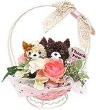 ダイカイ 花 ギフト 造花 枯れない フラワーアニマル (動物の顔も花がカワイイseries) バスケットネコ BR   72701