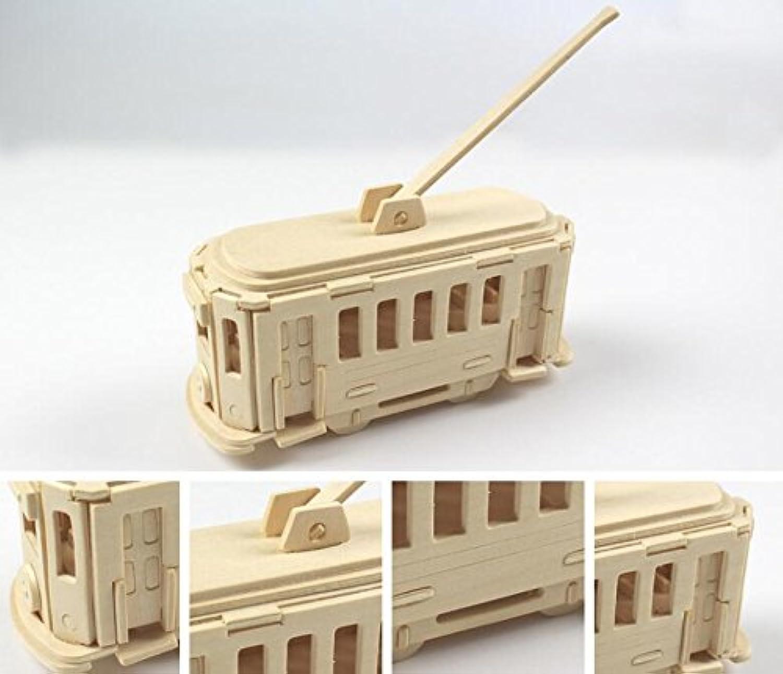 HuaQingPiJu-JP 創造的な木製の3Dパズルアーリーラーニングの形状透明なツール子供のためのおもちゃのファンタスティックギフト(路面電車)