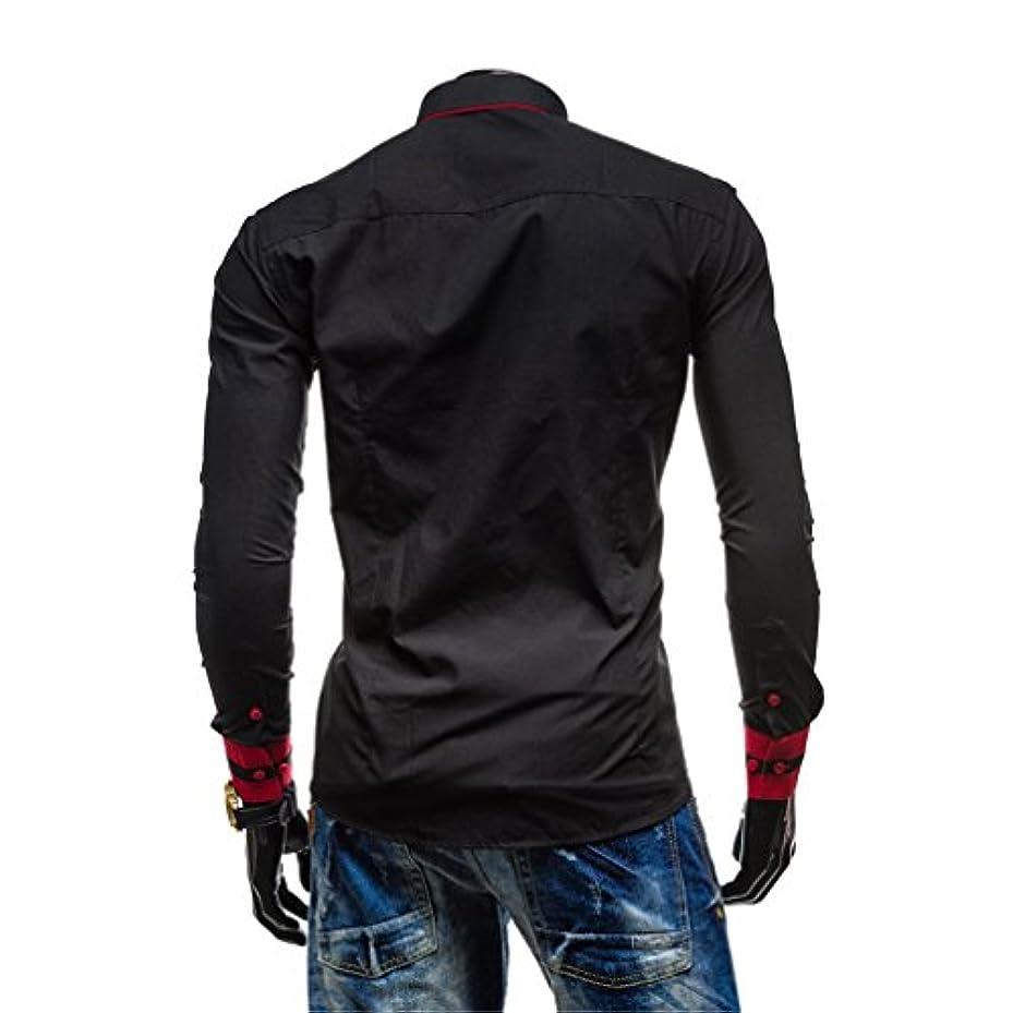 ぬれた冷蔵するりHonghu メンズ シャツ 長袖 スリム カジュアル ブラック L 1PC