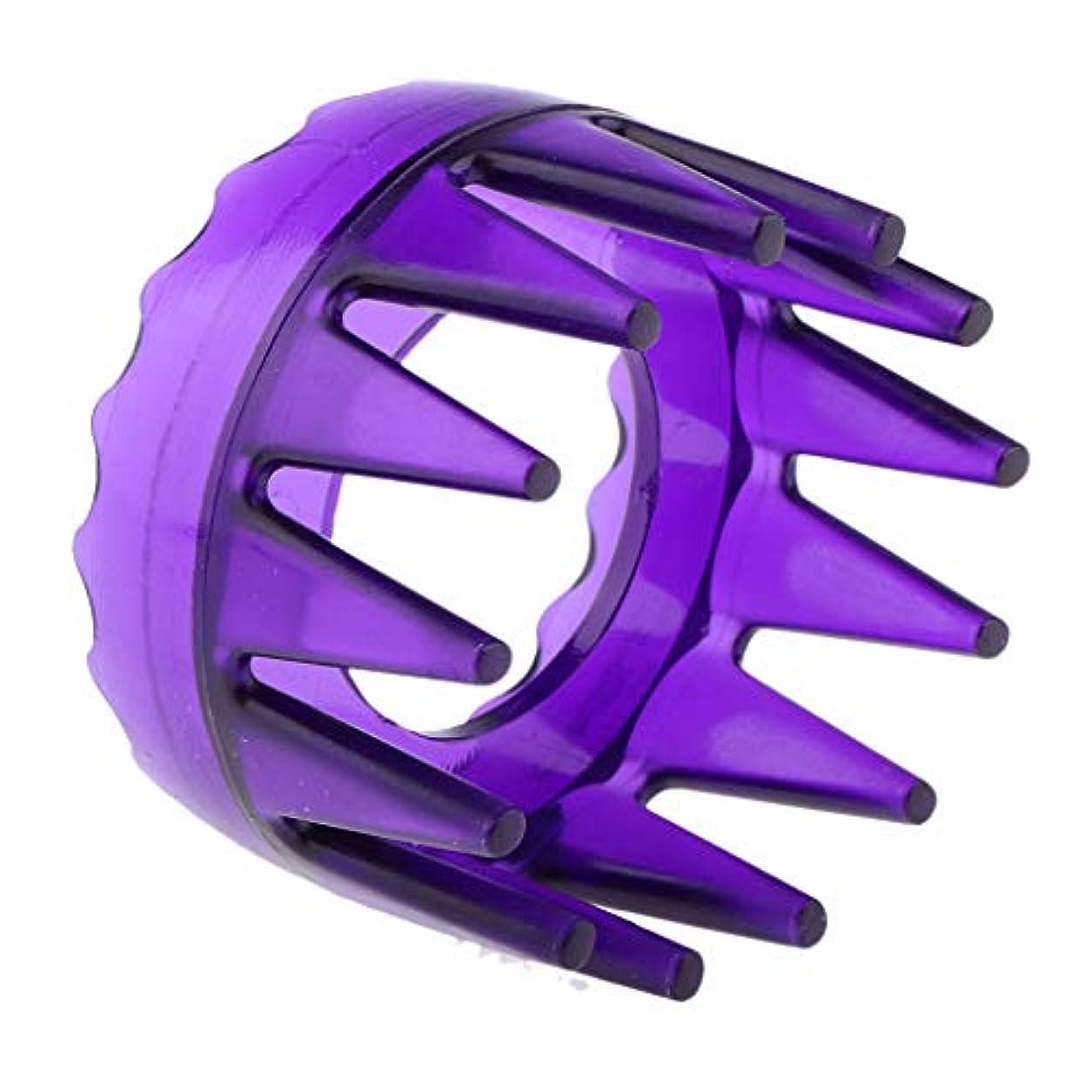 ハンディキャップ中断罪悪感頭皮マッサージ シャワー シャンプー ヘアブラシ マッサージャー櫛 ユニセックス 4色選べ - 紫