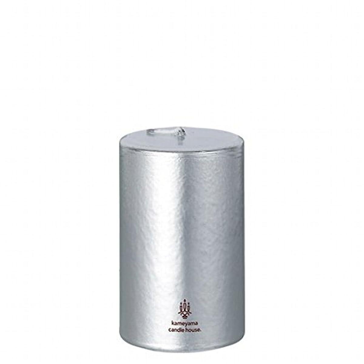 けがをする熱狂的なわずらわしいカメヤマキャンドル(kameyama candle) メタリックピラー2×3 「 シルバー 」