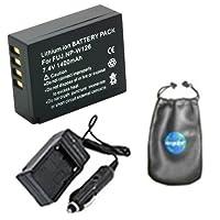 Amsahrデジタル交換用デジタルカメラとビデオカメラバッテリーPlus Miniバッテリー旅行充電器Fujifilm npw126、np-w126、FinePix hs30exr、hs33exr–Includesレンズアクセサリーポーチ