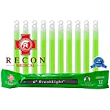 10 Pack (GREEN) Tactical BreakLights- Recon Medical 6 Inch Ultra Bright First Aid Kit Hexagon Shape Ultra Bright Glow Sticks