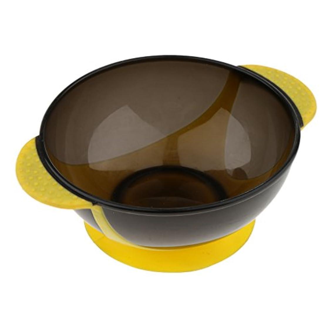 トリッキーサラダ権限Perfk ヘアダイボウル プラスチック製 サロン 髪染め ミントボウル 着色ツール 吸引ベース 3色選べる - 黄