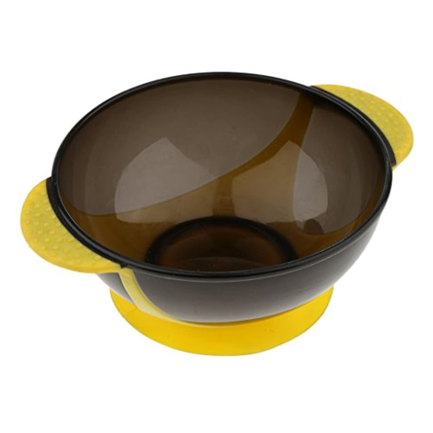 丘くびれた食物Perfk ヘアダイボウル プラスチック製 サロン 髪染め ミントボウル 着色ツール 吸引ベース 3色選べる - 黄