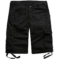 famuka Mens Casual Cotton Military Style Multi Pocket Cargo Shorts