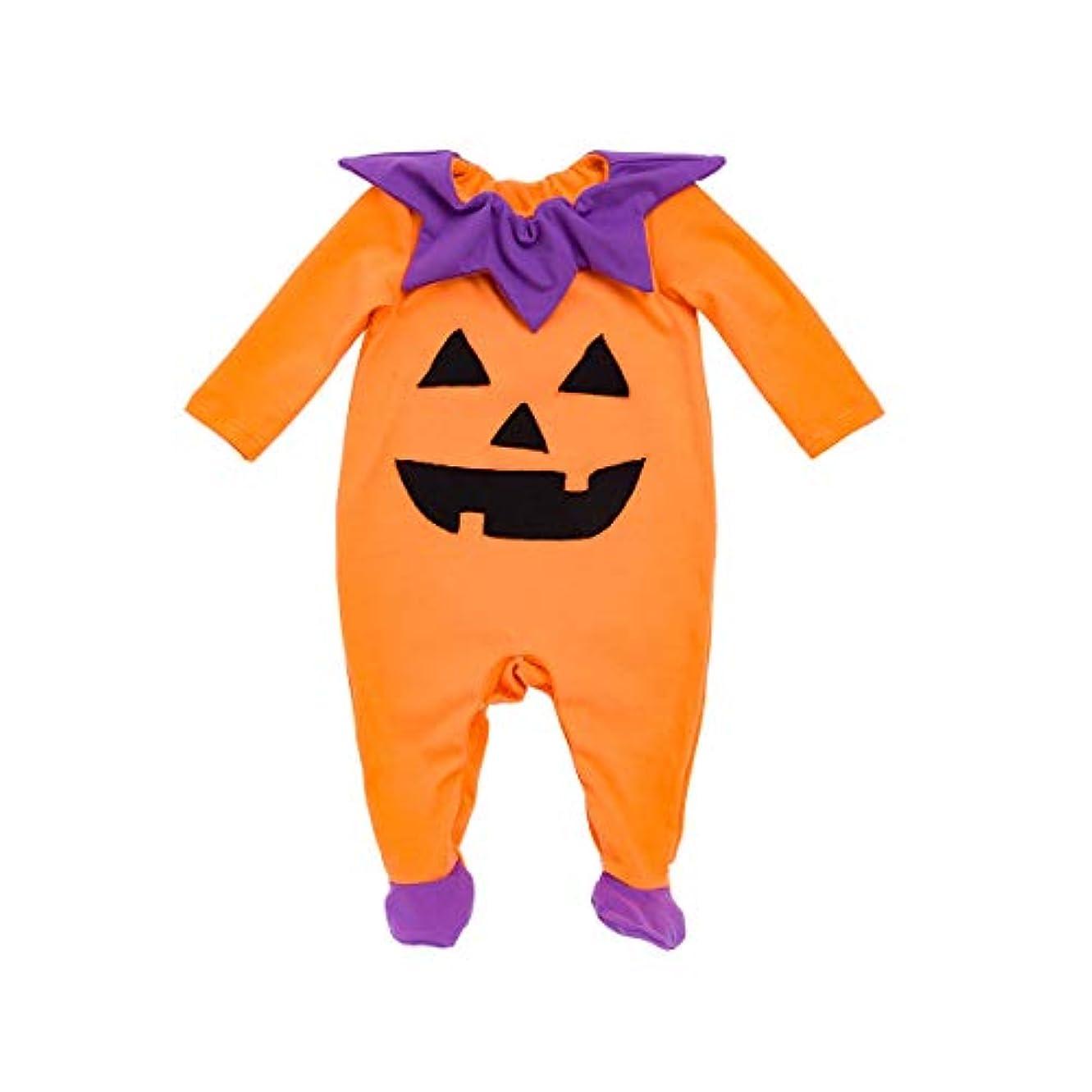 ハンマーパレード見通しFairy Baby ハロウィンロンパース 足つき ベビー服 長袖 かぼちゃ仮装 着ぐるみ コスチューム size 66