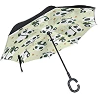逆さ傘 逆折り式傘 車用 日傘 長傘 パンダ柄 ハート UVカット 手離れC型手元 撥水加工 晴雨兼用 耐風 124センチ