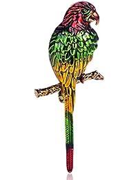 MECHOSEN オシャレ アンティーク レディース ブローチ 赤 鳥 動物 グリーン エナメル コサージュ ゴールド アクセサリー ジュエリー