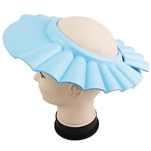 palaisgent シャンプーハット ボタン式 サイズ調整可能 大人も子供も使える 厚手 ぴったりフィット (水色)