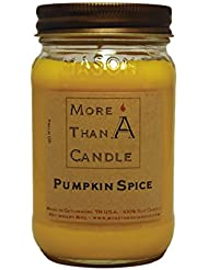 More Than A Candle PPS16M 16 oz Mason Jar Soy Candle, Pumpkin Spice