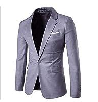 GodeyesW 男性ドレスビジネスピーコートアウトウェアリラックスフィットブレザーアウトウェア Light Grey L