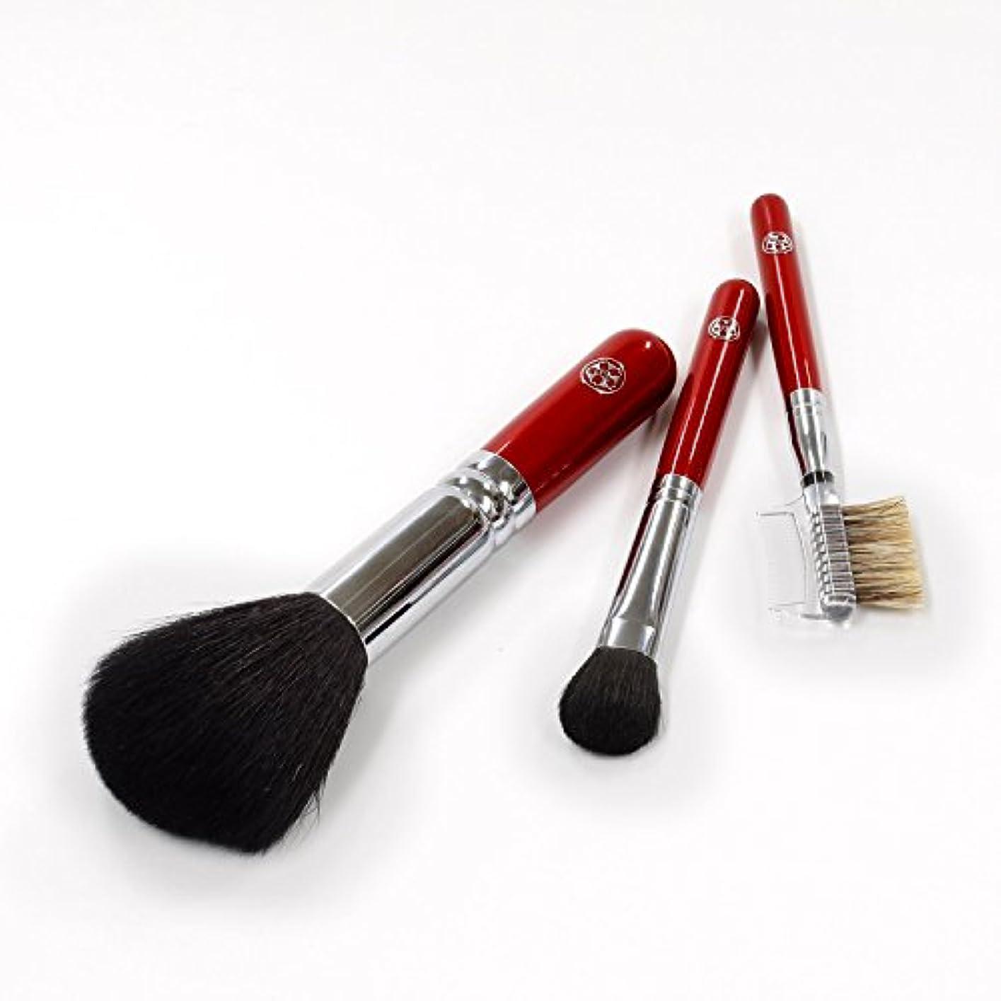 分注する満州部族ARRS-S3さくら筆 まずはこの3本から 基本の化粧筆 3本セット パウダー アイシャドー ブラシ&コーム 六角館さくら堂 ロゴ入り 女性の手になじみやすい赤軸ショートタイプ 熊野筆