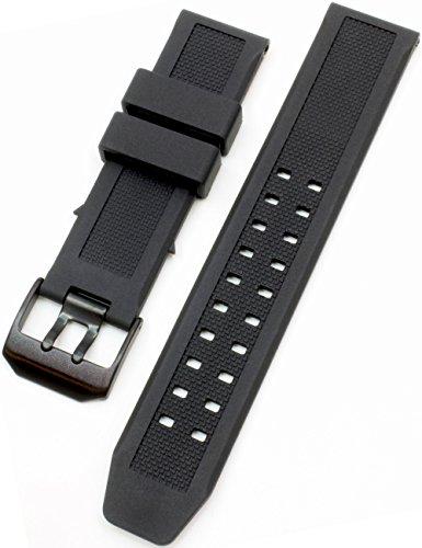[2PiS] ベルト交換簡単 ルミノックス 腕時計 時計 純正バンド互換品 Luminox ラバーバンド 交換マニュアル付 ( ブラック(ブラックバックル) : 23mm ) 154-1-23