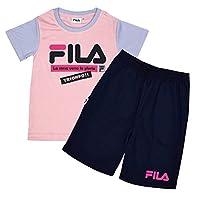 07923f458251a アスナロ(つなぎ・セットアップ) セットアップ 半袖 Tシャツ ハーフパンツ 女の子 ジュニア 2点セット 吸汗 速乾 FILA スポーツ