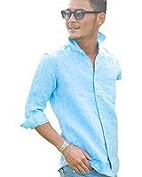 (キャバリア) CavariA メンズ 無地 七分袖 シャツ ホリゾンタルカラー 薄手 麻 トップス フレンチリネン 44(M) TUR(ターコイズ)