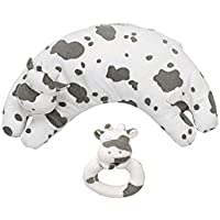 Angel Dear Ring Rattle and Curved Pillow Cow Set by Angel Dear