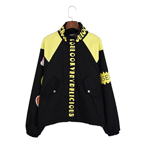 (ライチ) Lychee レディース 可愛い 虹 絵文字 英語 プリント入り コート ジャケット アウター 立ち襟 大きいサイズ 韓流ファッション 原宿スタイル ゆったり メンズ 男女兼用 ペアルック