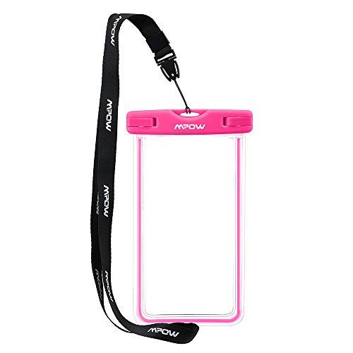 Mpow 防水携帯ケース スマートフォン用防水・防塵ケース iPhone6S/6など6インチまでの機種に対応 IPX8 アウトドア潜水/温泉/釣り/お風呂/水泳など用の防水袋(ピンク)