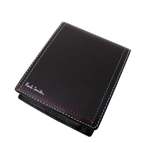 ポールスミス PaulSmith メンズ 2つ折り財布 レザー 黒/茶 PSK707 小銭入れあり (ブラック)