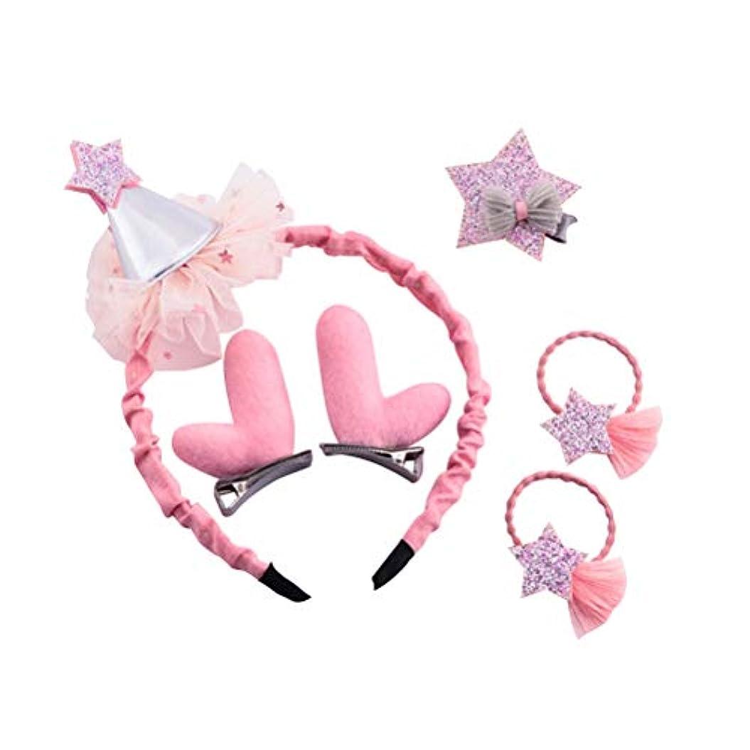 ごみあそこ組み合わせるBESTOYARD クリスマスの髪のアクセサリー帽子のレンダーの飾り飾りヘッドバンドのヘアクリップ女の子のためのピンバレッタの髪の弾性(ピンク)