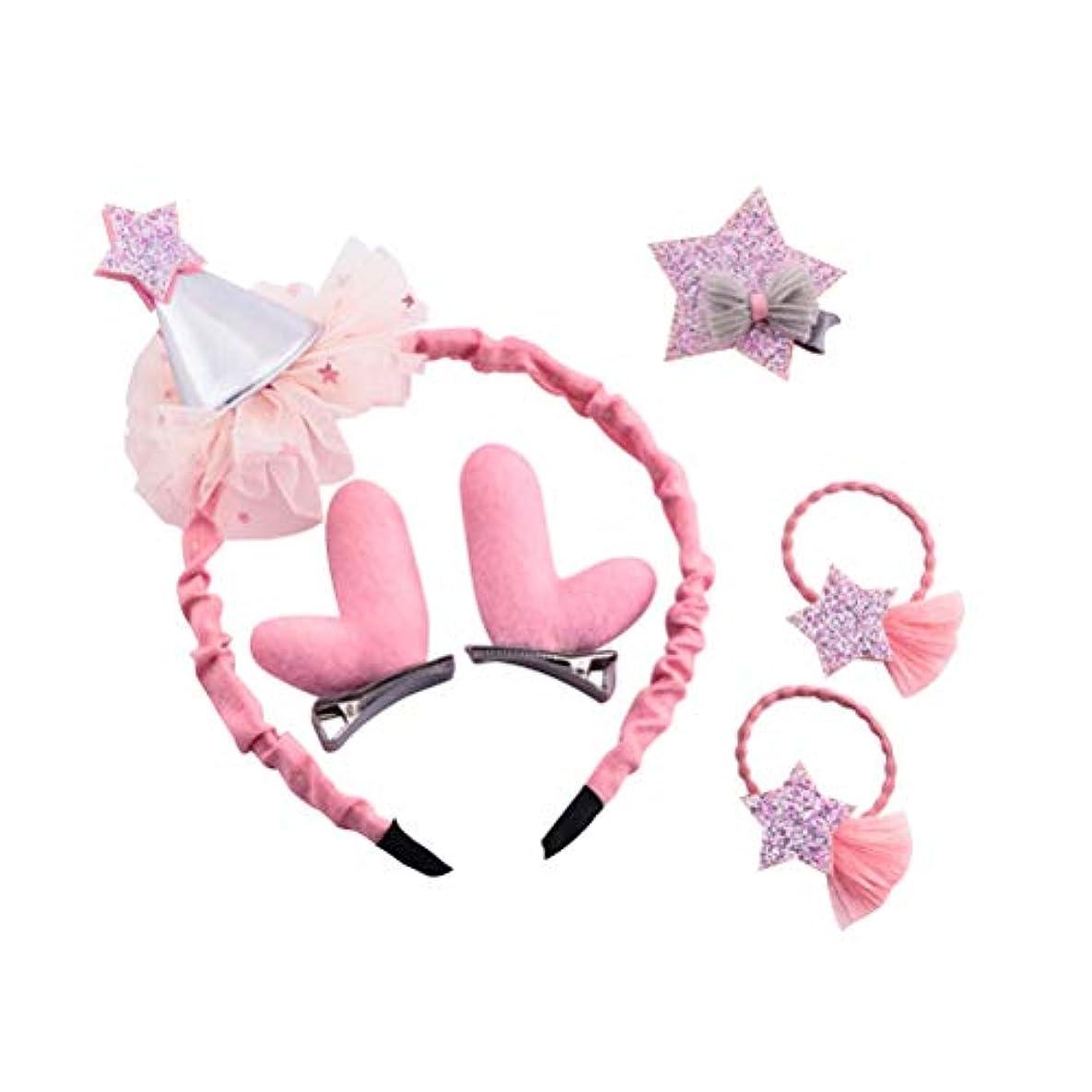 スパン破産びっくりしたBESTOYARD クリスマスの髪のアクセサリー帽子のレンダーの飾り飾りヘッドバンドのヘアクリップ女の子のためのピンバレッタの髪の弾性(ピンク)
