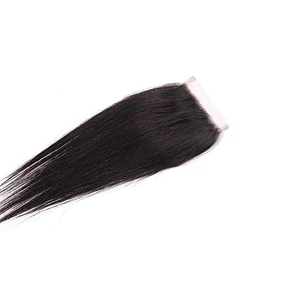 縞模様の枯渇白雪姫WASAIO Unloosenパートレースフロンタル閉鎖Unbowedヘアエクステンションクリップのシームレスな髪型ブラジルの人間4「X4」トップナチュラルカラー (色 : 黒, サイズ : 14 inch)