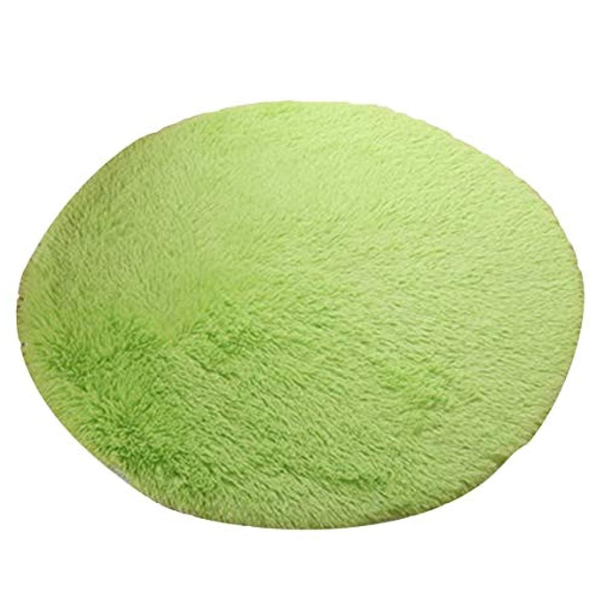 ほうき好奇心盛集中的な超柔らかい厚い屋内ラウンドモーデンエリア敷物パッド寝室のリビングルームのリビングルームの敷物毛布家の装飾のためのフットクロス-緑80 * 80 cm