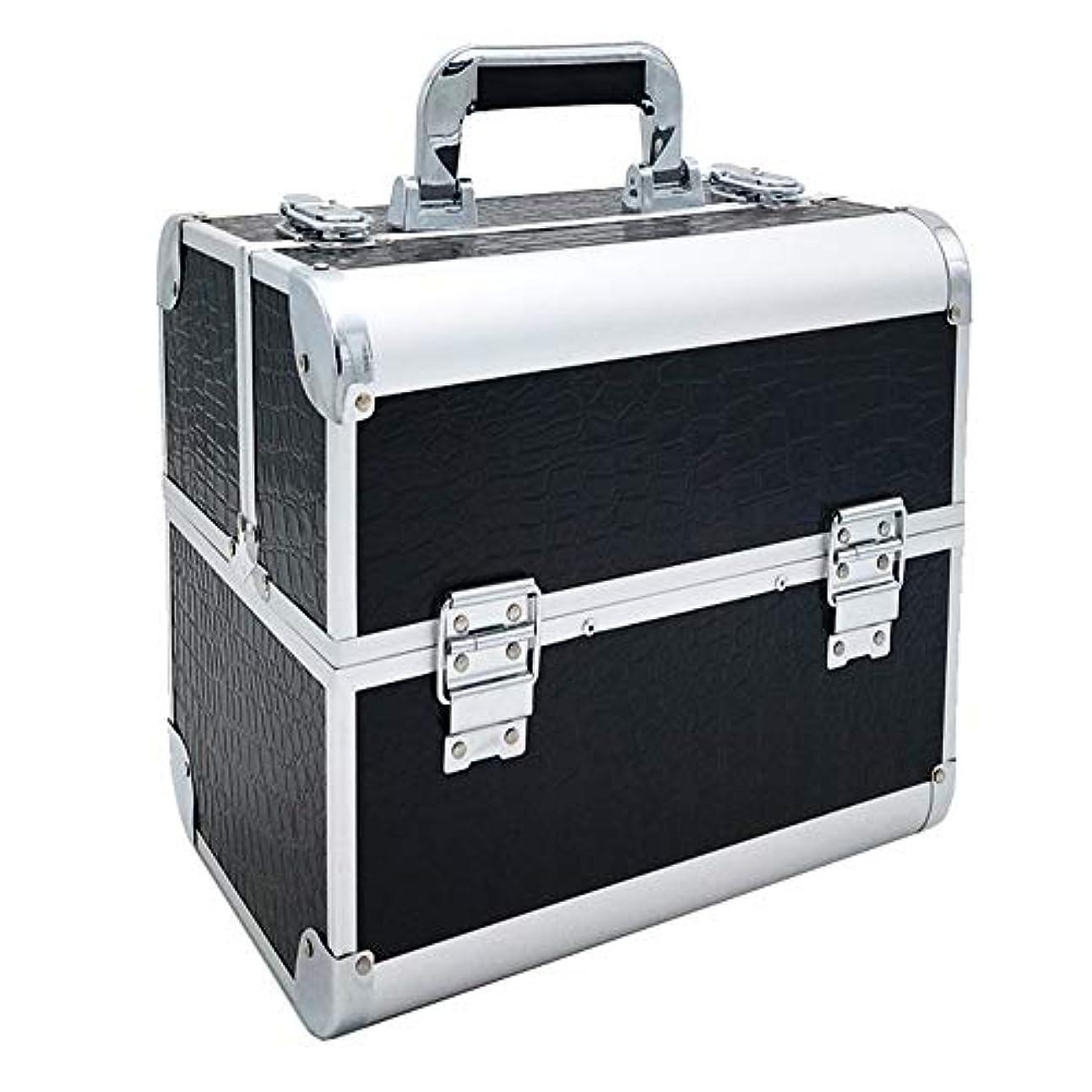 統計的エントリ警告特大スペース収納ビューティーボックス 調節可能なディバイダーが付いている構造の電車箱の専門の化粧品カセット4つの皿および2つのロック黒、ピンク任意。 化粧品化粧台