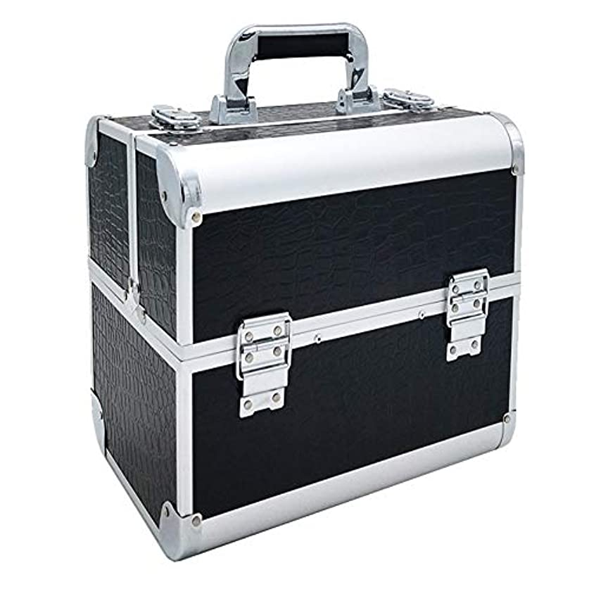 半球ポーチボトルネック特大スペース収納ビューティーボックス 調節可能なディバイダーが付いている構造の電車箱の専門の化粧品カセット4つの皿および2つのロック黒、ピンク任意。 化粧品化粧台