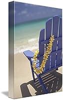 """「ブルー壁アートプリントBeach Chair withプルメリアLei Hanging On Side ByデザインPics 32"""" x 48"""" 5292074_5_thickbox"""