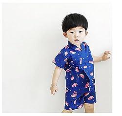 ディゾン(dizoon)春夏 浴衣 甚平 子供服 男女兼用 男の子 綿100% 七五三 5デザイン くだもの 80 90 100 110 120 130 140cm