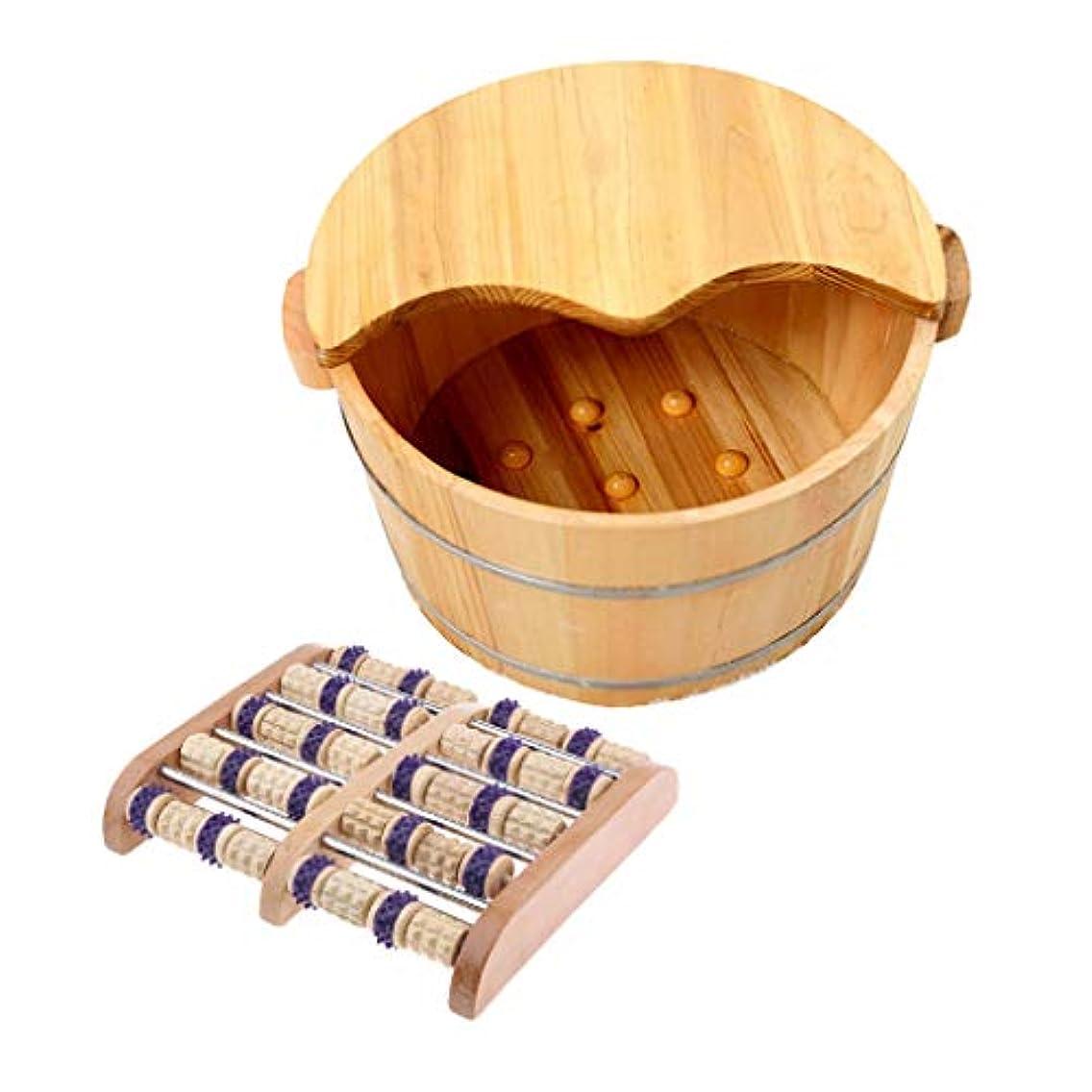 夢中アコーまあdailymall 二重足のマッサージャーのローラーの自然な木のフィートの鉱泉の浴室の洗面器の洗浄のふたの浴槽