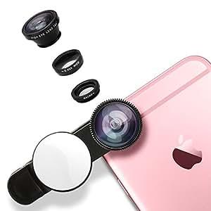 LEVIN レンズ 魚眼&マクロ&広角レンズ バックミラー付き iPhone7/7 plus/6/6S/5/SEなどのスマートフォン/タブレット対応 (ブラック)