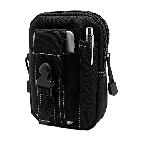 【Ventlax】 マルチ ガジェット バッグ ミリタリー ポーチ ウエストバッグ スマホ iPhone デジカメ 小物の持ち運びに最適 (ブラック)