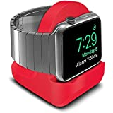 AWINNER Compact Stand Compatible with iWatch Series 4,Series 3, Series 2, Series 1 - Nightstand Mode Compatible - Support Stand with Integrated Cable Management Slot (38mm & 42mm Compatible) (Red)